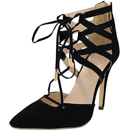 Oasap Mujer Kitten Heel Zapatos Estiletes Gamuza Sintética Correa-Entrecruzada Negro
