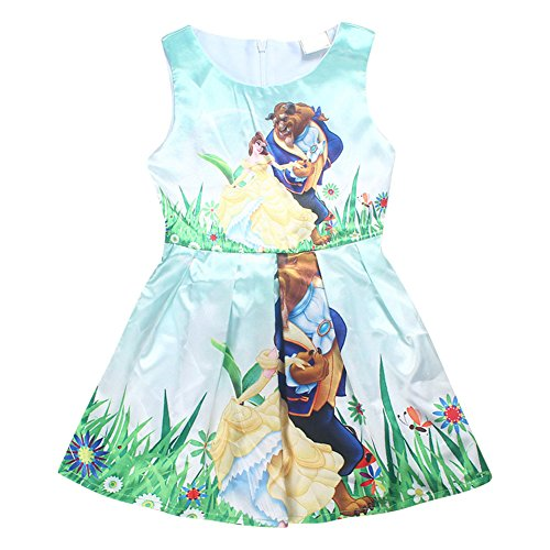 [AOVCLKID Beauty and the Beast Little Girls Printed Princess Dress Cartoon (Green,110/3-4Y)] (Beauty And The Beast Dress)