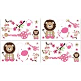 Jungle Friends Wall Decal Stickers by Sweet Jojo Designs - Set of 4 Sheets