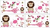 Sweet Jojo Designs 4-Piece Jungle Friends Wall Decal Stickers