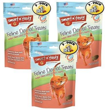 (3 Pack) Smart n' Tasty Cat Dental Grain-Free Treats Salmon - 3 Ounces each