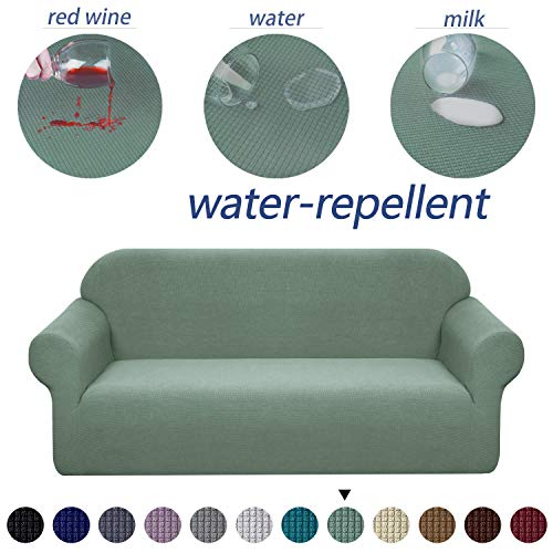 Granbest Premium Water Repellent Sofa Cover High Stretch Couch Slipcover Super Soft Fabric Couch Cover (Matcha Green, Sofa) (Couches Super Cheap)