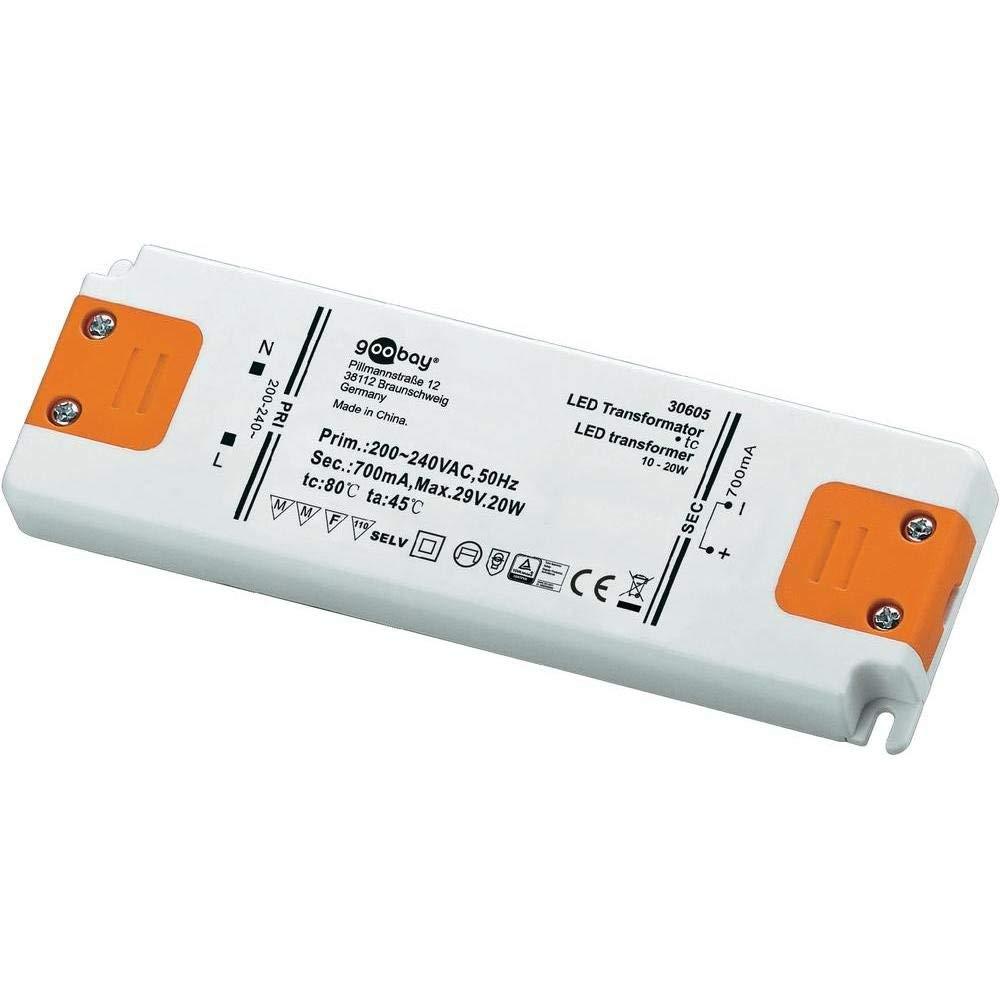 20 W, 200-240, 29 V, II, 0,7 A, 15,4 cm Transformador de luz Goobay 30605 89 20W transformadores de corriente para iluminaci/ón