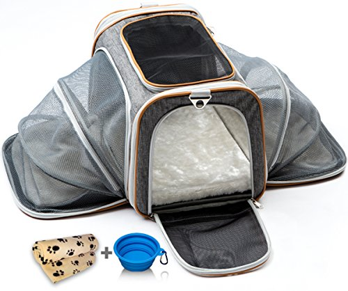 Cat Carrier Dog Carrier Pet Carrier for Cats - Cat Carriers for Medium Cats - Dog Carriers for Small Dogs - Small Dog Carrier - Airline Approved Pet Carrier - Soft Expandable Kennel Crate for Pets