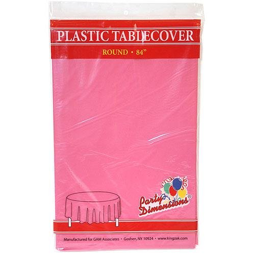 Plastic Round TableCovers 84'' - 22 Colors Select Color: Hot Pink