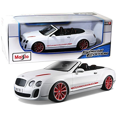 """Maisto Year 2014 Special Edition Series 1:18 Scale Die Cast Car Set - White Color Grand Tourer GT BENTLEY CONTINENTAL SUPERSPORTS CONVERTIBLE ISR with Display Base (Car Dimension: 9-1/2"""" x 4"""" x 3"""")"""