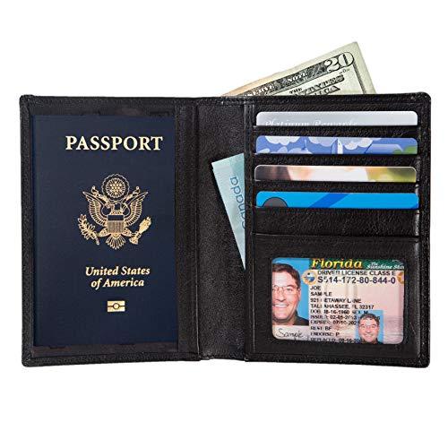RFID Passport Wallet Travel Organizer - 2 Passport Holder - Slim Leather Bifold