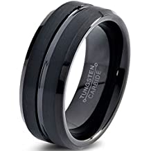 Tungsten Wedding Band Ring 8mm for Men Women Comfort Fit Black Enamel Beveled Edge Polished Brushed Lifetime Guarantee