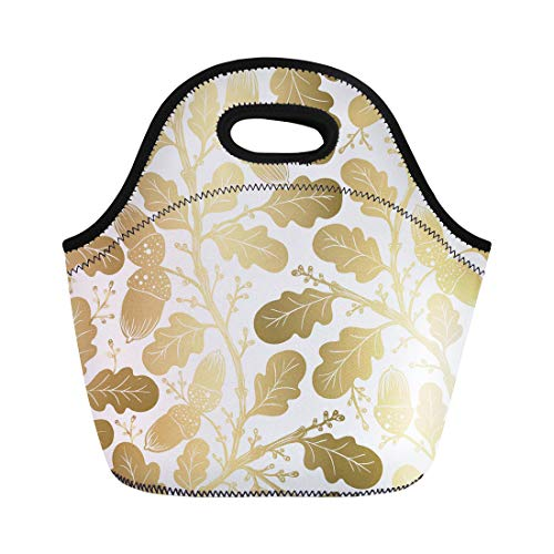 Semtomn Neoprene Lunch Tote Bag Vintage Oldstyle Gold Color Oak Leaf Pattern Abstract Arms Reusable Cooler Bags Insulated Thermal Picnic Handbag for Travel,School,Outdoors, -