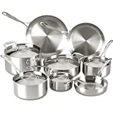 Lagostina Q555SD Axia Tri-Ply Stainless Steel Dishwasher Safe Cookware Set, Silver