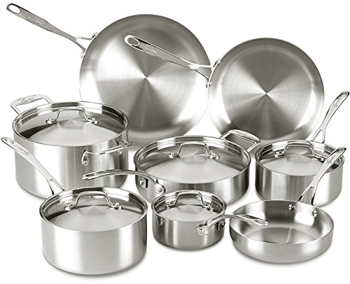 Lagostina Q555SD Axia Tri-Ply Stainless Steel Dishwasher Safe Oven Safe Cookware Set, 13-Piece,...