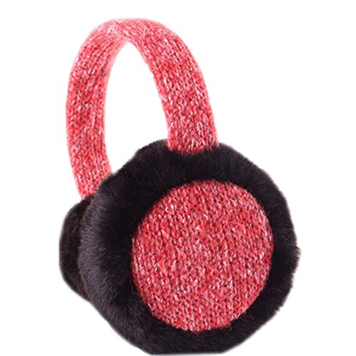 [RED] Black Fur Ear Warmer Vague Cadre Earmuffs Protector Oreille d'hiver