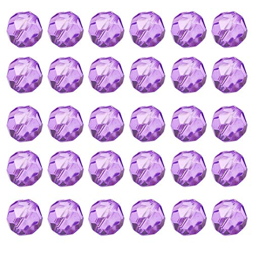 Mystart 200 Pieces Faceted Crystal Glass Beads Bracelets Necklaces Loose Beads Door Curtain Beads (Crystal Purple) ()