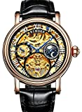 Mens Tourbillon Moonphase Watch Gold Stainless Steel Automatic Mechanical Skeleton Dial Wristwatches