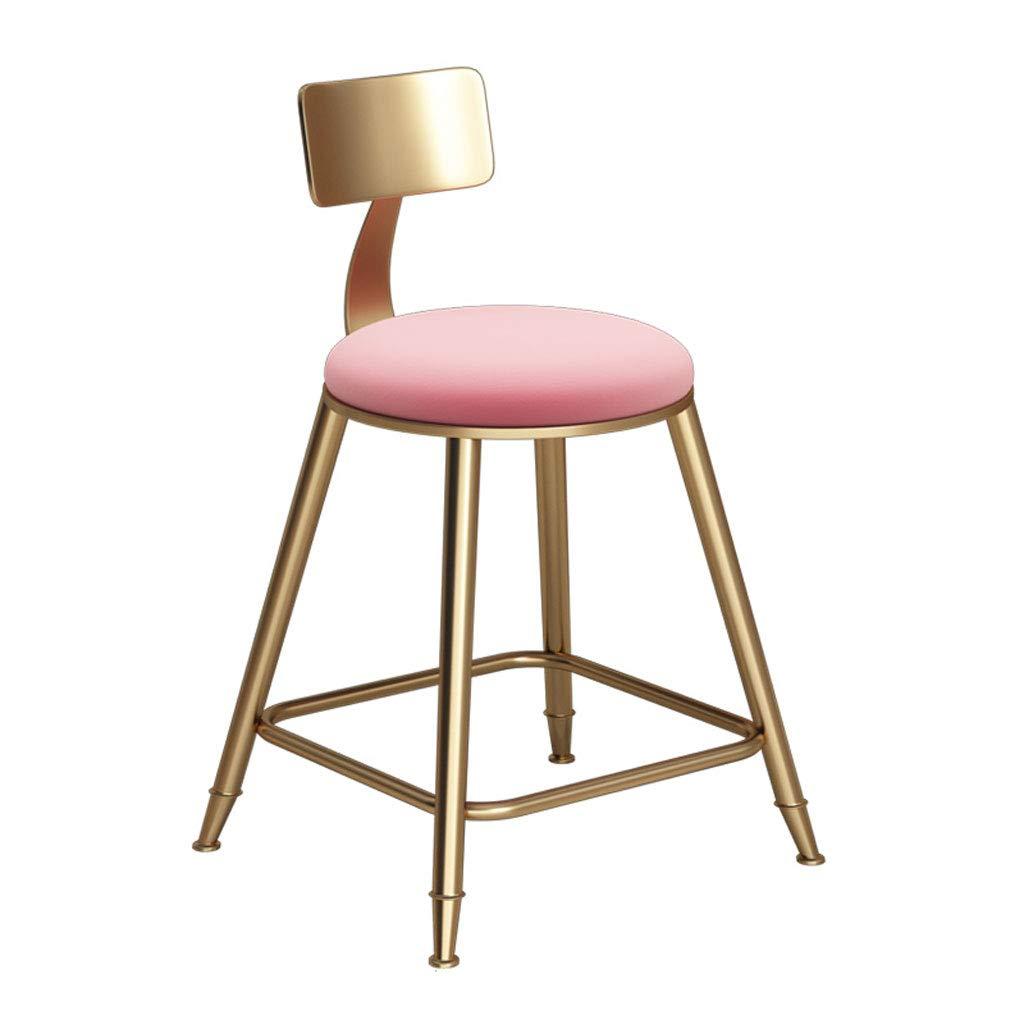 Pink 85cm QianLiJiaJi Chair Foot Pad Sponge Cushion Backrest Dining Chair Kitchen Bar Stool Metal Legs Load 150 Kg Modern bar Chair (color   White, Size   68cm)
