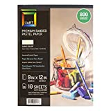 UArt Premium Sanded Pastel Paper 10 Pack 9 x - 10 Pack / 800 Grade / 9 x 12 inch
