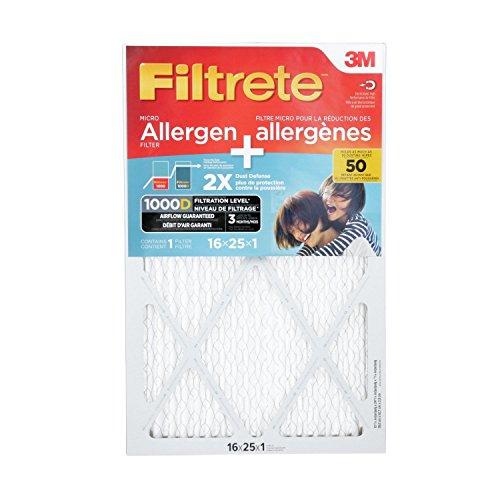 huge discount 5a23f 6d3b7 Filtrete MPR 1000D 16x25x1 Micro Allergen Plus Dust Pleated AC Furnace Air  Filter, 1-