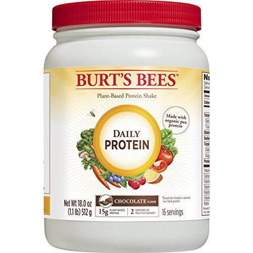 Burt's Bees Plant-Based Protein Powder, Daily Protein, 18 Oz., Chocolate Flavor