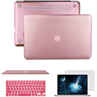 Funda para MacBook Air de 13 pulgadas, versión 2018, A1932, Anrain, ultra delgada, liviana, de policarbonato, con cubierta para teclado y protector de visualización para MacBook Air de 13 pulgadas con visualización Retina, compatible con Touch ID, Rose gold