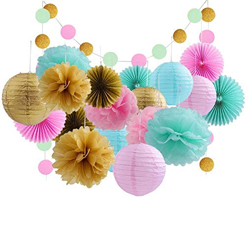 20 Pcs Gold Tissue Paper Flowers and Pink Pom Poms Lanterns for Baby Shower Birthday Decoration,Bridal Wedding Party Supplie -