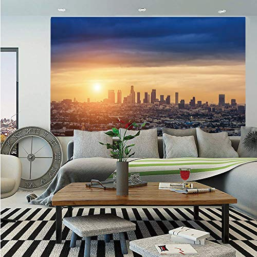 SoSung City Wall Mural,Sunrise at Los Angeles Urban Architecture Tranquil Scenery Majestic Sky,Self-Adhesive Large Wallpaper for Home Decor 55x78 inches,Navy Blue Apricot Ivory