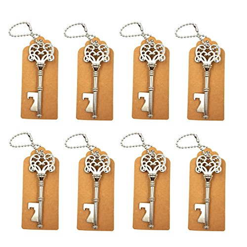 DerBlue 60 PCS Skeleton Key Bottle Openers Wedding Favors Rustic Decoration with Escort Tag Card (Silver)