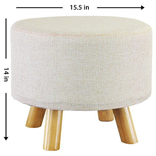 Jerry & Maggie - Footstool Fabric 4 Legs Ottomans Bench Seat Foot Rest Step Stool with Feet Protection Design | Round - Oversized - Beige ()
