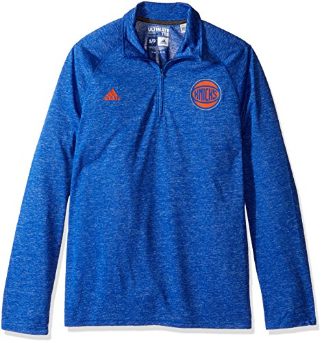 NBA New York Knicks Men's Climalite Ultimate Long Sleeve 1/4 Zip Left Chest Logo Jacket, Black, Small