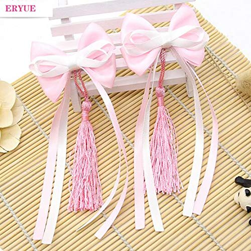 Pink Ribbon Spirit Pin - OLIJU Children Wafer Chinese high Spirit Hairpin Decorated Boutique Tassels Rabbit Fur Ball Girl Costume Accessories Year (one Pair of Pink Ribbon