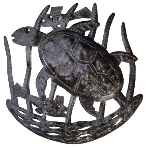 Le Primitif Galleries Haitian Recycled Steel Oil Drum Outdoor Decor, 10 by 10-Inch, Turtle with Two Fish