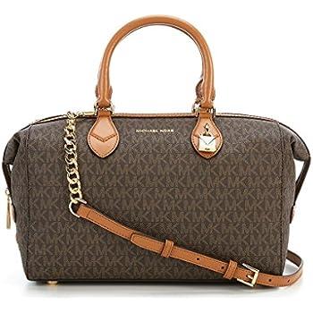 88e28a0c656925 NEW AUTHENTIC MICHAEL KORS GRAYSON SIGNATURE CONVERTIBLE SATCHEL (Brown/ Luggage)