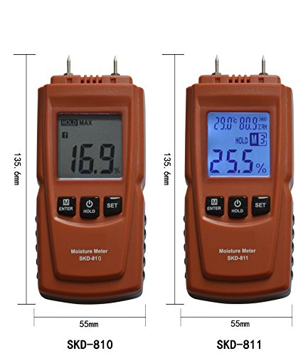 CGOLDENWALL Industrial digital wood moisture meter Handheld Carton/Paper moisture detector Bamboo hygrometer Cement masonry temperature and humidity meter (SKD-811 (range:2-70%))