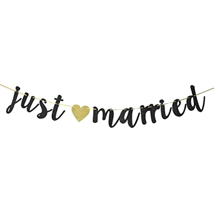 f16c9a23f86 Black Glitter Just Married Banner - Just Married Sign - Wedding Banner -  Bridal Shower Bachelorette Party Decoration Supplies