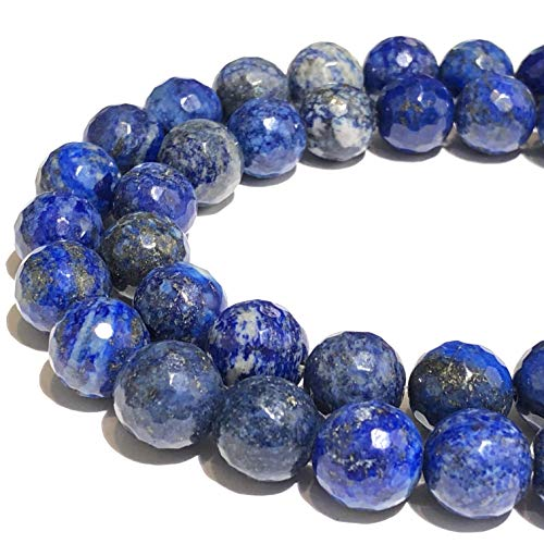 [ABCgems] Afghanistan Lapis Lazuli (Exquisite Color- Beautiful Matrix) 8mm Faceted Round Beads for Beading & Jewelry Making