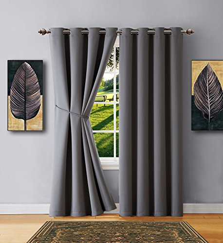"""Warm Home Designs 1 Panel of Light Grey Blackout Curtains with Grommets. Extra Short Length Insulated Thermal Window Panel Is 54"""" X 63"""" in Length and Includes Matching Tie-Back. N Gray 63"""