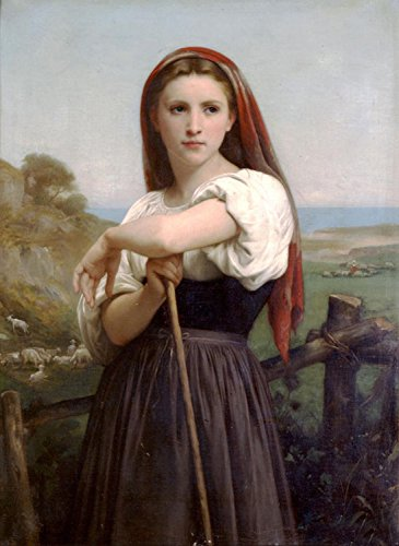 100% Genuine Real Hand Painted Portrait Young Shepherdess Girl with Sheep Canvas Oil Painting for Home Wall Art Decoration, Not a Print/ Giclee/ Poster, FRAMED, READY TO HANG
