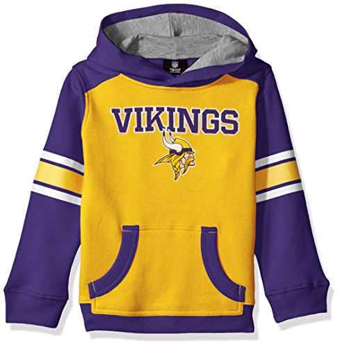 (Outerstuff NFL Youth Boys Allegiance Pullover Hoodie-Gold-M(10-12), Minnesota Vikings)