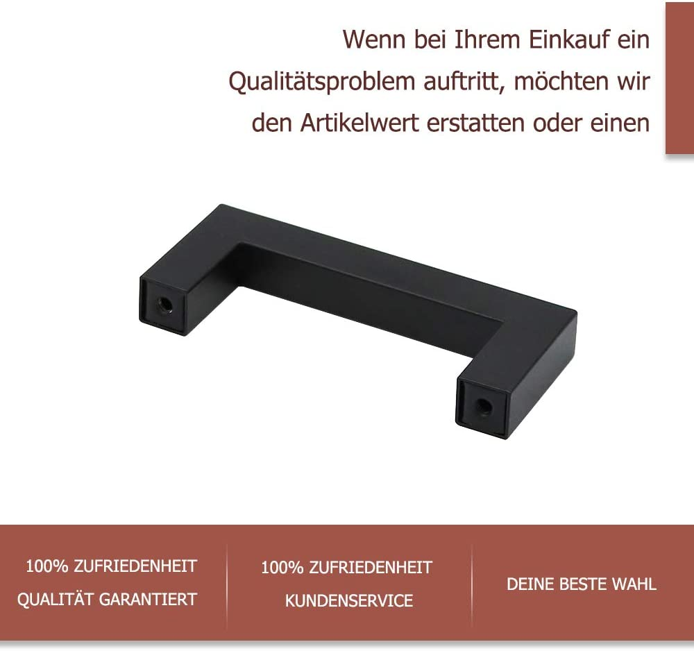 1 St/ück Schwarz M/öbelgriff Edelstahl Stangengriff Relinggriffe LSJ12BK76 Bohrlochabstand 76mm K/üchengriff Schrankgriffe Schubladengriffe Quadratischer Griff