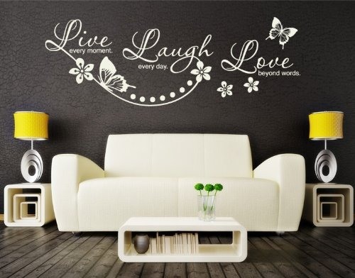 Live Every Moment, Laugh Every Day, Love Beyond Words Wall Decal by Style & Apply - highest quality wall decal, sticker, mural home decor, floral quotes & sayings - 2725 - Black, 59in x 20in by Style & Apply