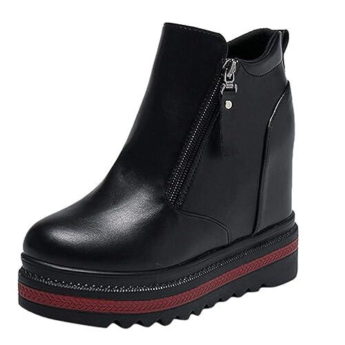Botines de Invierno Mujer, Btruely Zapatos de tacón Alto Botines Retro Salvajes Zapatos de tacón Botines Zapatos Mujer Otoño Invierno Botas de Mujer Botines ...