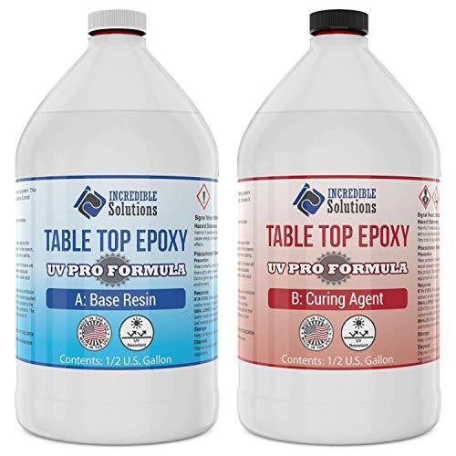 Epoxy Resin Crystal Clear, Table Top & Bar Top Epoxy Coating UV PRO FORMULA, Enhanced UV Resistance For TableTops & Resin Art, 1 Gallon Kit