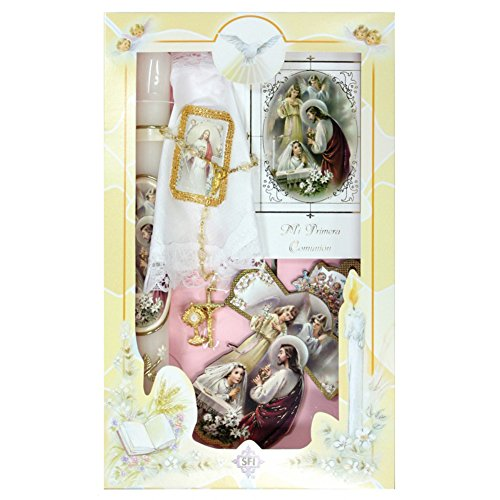 New Girls First Holy Communion Complete Candle Gift 6 Pc Set Cross Keepsake in Spanish Rosary Boxed Espanol Juego de ()