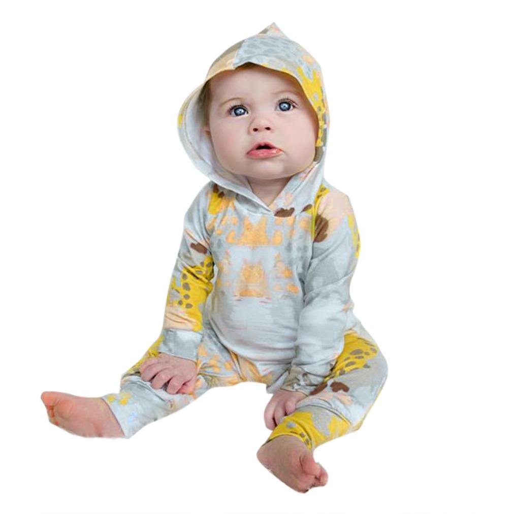 Pollyhb Baby Girls Boys Romper Newborn Baby Kids Long Sleeves Print Hooded Outfits Romper Clothes Jumpsuit
