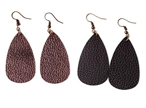 L&N Rainbery Teardrop Leather Earrings Antique Looking 2 Pairs Pack(Gun Metal+Black) (Earrings Aromatherapy)