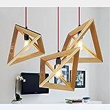 FAYM-Modern minimalist dining room bedroom living room wooden triangle wood chandelier