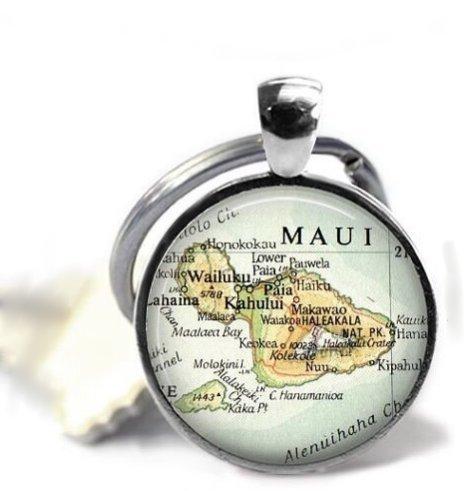 regalo del padre regalo para mejor amigo regalo para novio mapa hawaiano regalo de aniversario para hombre Maui Hawaii llavero hawaiano Llavero con mapa de Hawai