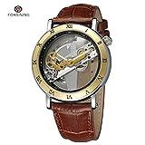 FORSINING Watches Men Luxury Roma Case Transparent Skeleton Automatic Mechanical Leather Strap Antique Wristwatch