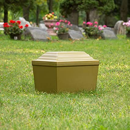 Guardian Vault in White, Urn Vault for Burial, Adult Sized, Polymer Storage  of One Cremation Urn for Burial of Ashes