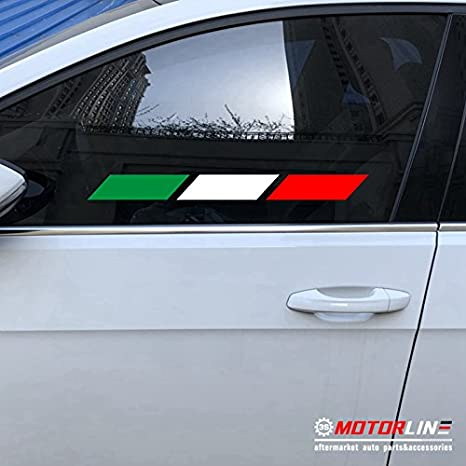4 3S MOTORLINE Pair Italy Italia Decal Sticker Car Vinyl Italian Flag Mirror Image Pick Size 10.2cm