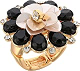 GUESS Ring Update Women's Sequin Flower Cocktail Ring, Gold, Expandable